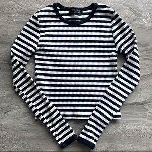 SALE Topshop Black + White Stripe Long Sleeve Top